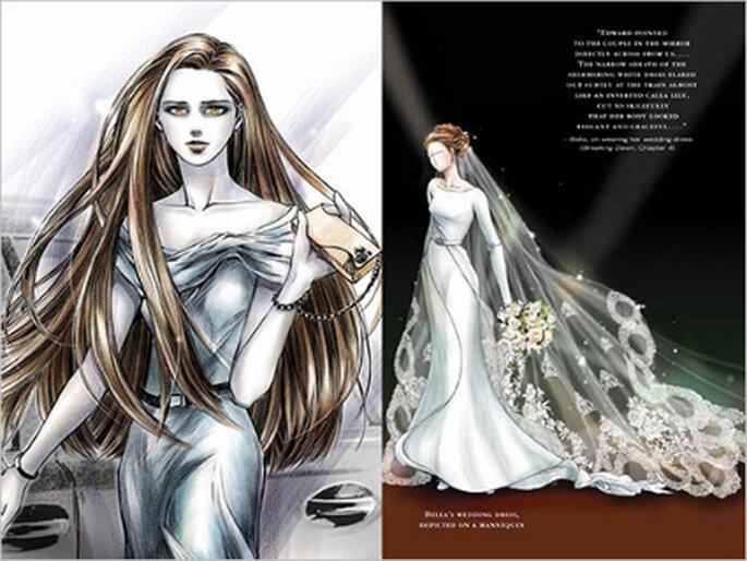 Ilustración del vestido de novia de Bella Swan