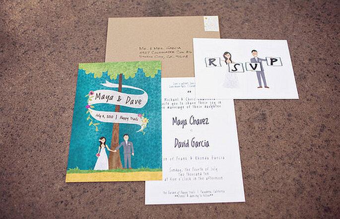 selbstgestaltete Hochzeitskarten für den Sommer