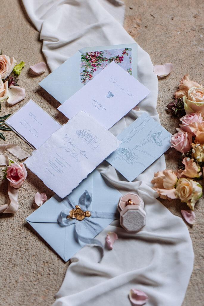 Handgefertigte Hochzeitspapeterie.