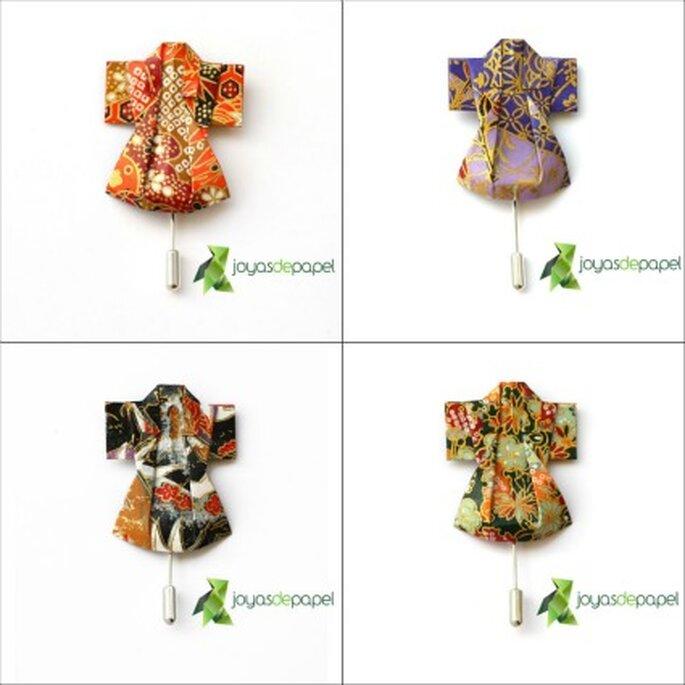 Broches de kimono en color naranja, morado, blanco y negro, y verde - Joyas de Papel