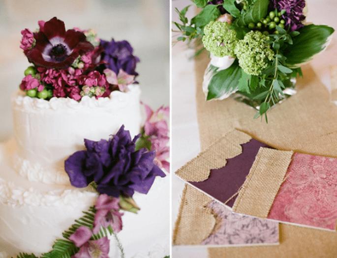 Hochzeitstorten mit Blumen - Foto: Amy Majors Photography