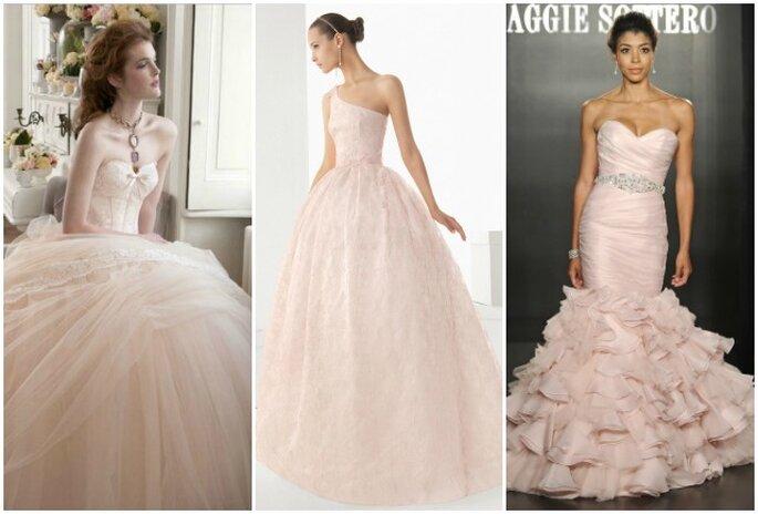 Il rosa è uno dei colori preferiti dalle spose. Da sinistra Atelier Aimèe Montenapoleone Collezione 2013, Rosa Clarà 2013, Maggie Sottero Bridal Collection 2013
