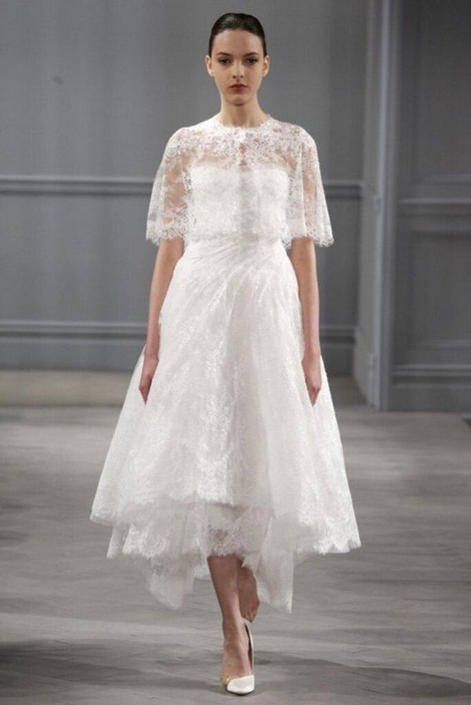 suknia ślubna do łydki z bolerkiem