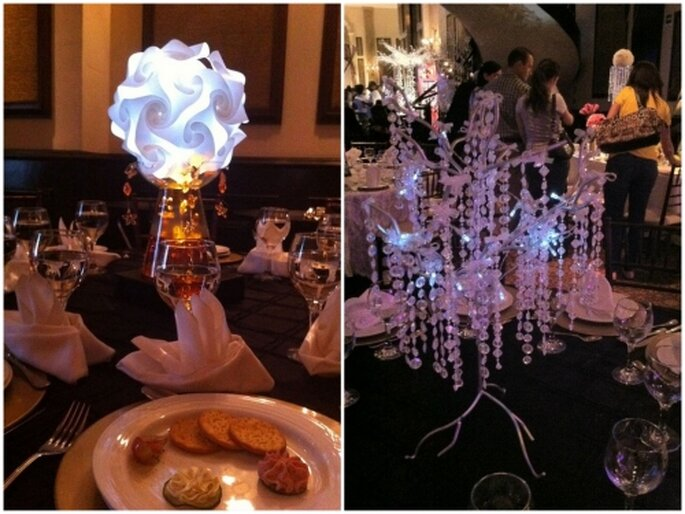 Centro de mesa para boda con LEDS. Fotografía La Luciernaga Deco Concept