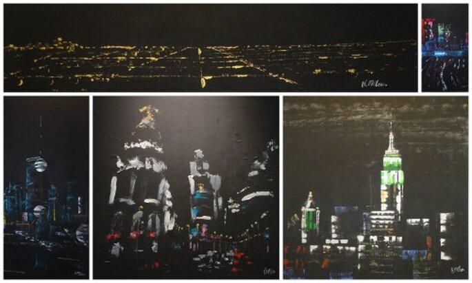 'Ciudad emergente', la exposición de la obrea de Helena Mclean, muestra ciudades como Los Ángeles, Tokyo, Shanghài, Madrid o Nueva York.