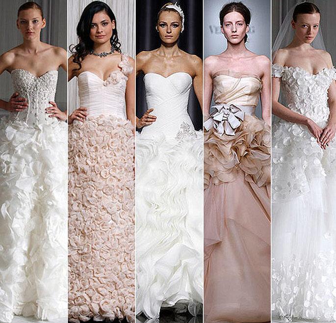Fiori in 3D negli abiti da sposa. Foto: hola.com