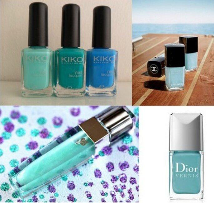 Smalti Kiko, Chanel Le Vernis Riva e Dior Vernis Croisette. Lipgloss Color Fever Green Petal Lancome