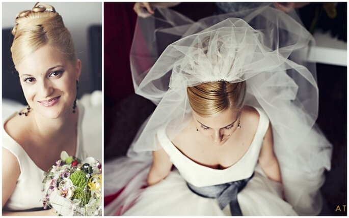 Peinado de novia alto con velo sujetado arriba