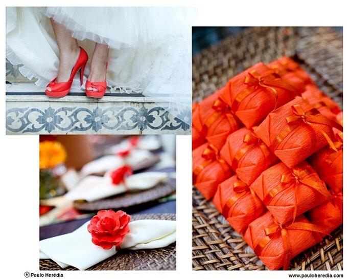 Scarpe, sacchettini, portatovaglioli...tutto nella stessa tonalità Tangerine Tango! Foto: Paulo Herédia