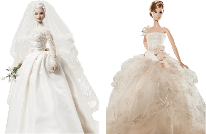 Grace Kelly (izqda.) y diseño nupcial de Vera Wang (dcha.). Foto: Barbie Collector.