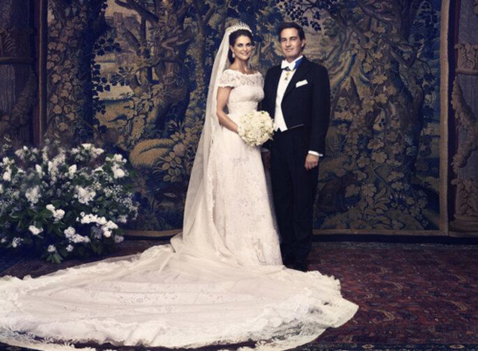 Madeleine de Suède brillait dans sa robe de mariée Valentino. Photo: Ewa-Marie Rundquist. Casa Real Suecia