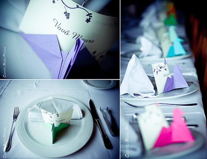 Decorazioni con origami. Foto: Camilla Mello