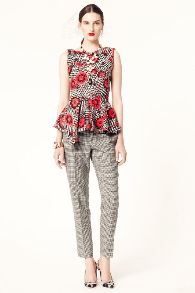 Conjunto de blusa y pantalón de estilo peplum con estampado floral