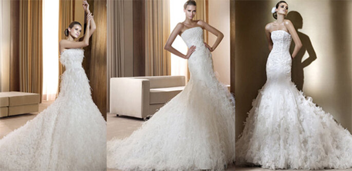 Robes de mariée avec des plumes, collection Pronovias - Photo: Pronovias