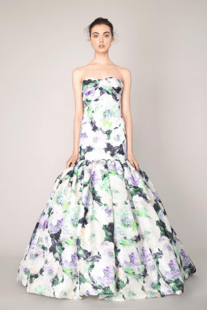Vestido de fiesta colección Crucero 2014 corte sirena con falda amplia y estampado de flores - Foto Marchesa