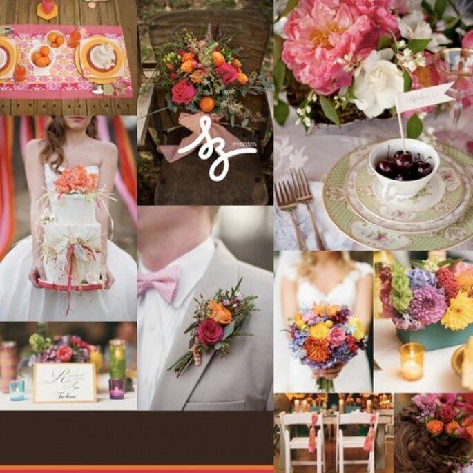 Collage de inspiración para una boda colorida y llena de vida - Fotos antiquariadesignstudio.com, societybride.com. Diseño de Raisa Torres para SZ Eventos