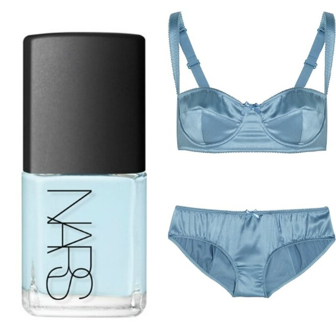 Esmalte de uñas azul bebé, de NARS. Lencería en satén de seda azul, de Dolce & Gabbana