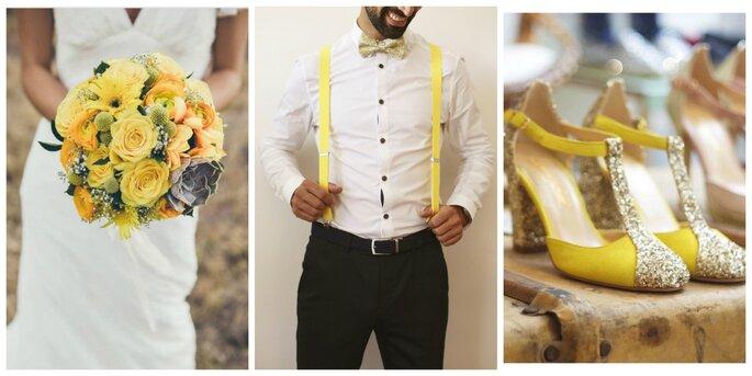 Photo à gauche : Bouquet Impression Nature / Photo au centre : Laura Gomez Photographe / Photo à droite : Chaussures Dessine-moi un Soulier