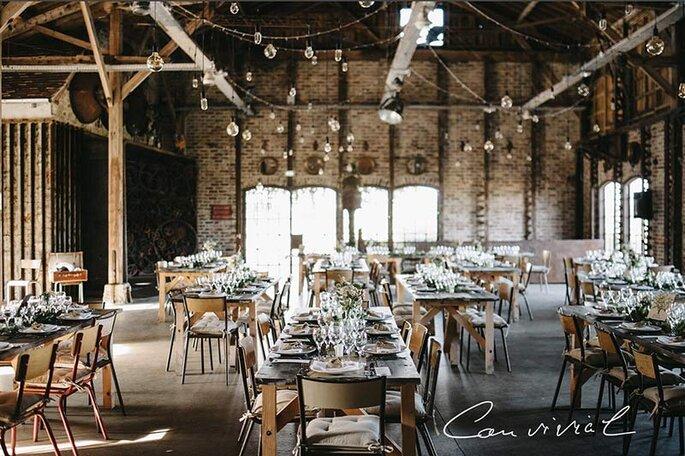 Les Bonnes Joies - l'espace de réception des Bonnes Joies décoré à l'occasion d'un mariage