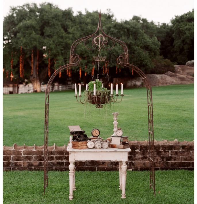 Decoración original para una boda vintage y romántica - Foto Elizabeth Messina