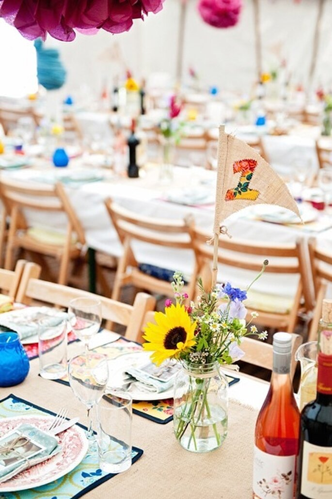 Centros de mesa florales. Foto: Dominique Bader