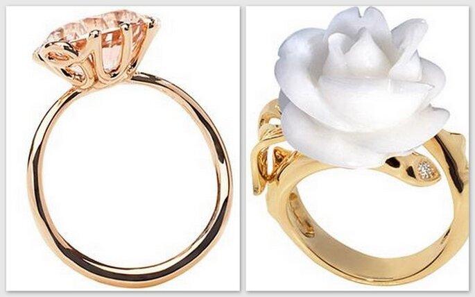 Anello con zaffiro rosa e Gwendoline, anello d'oro giallo con rosa