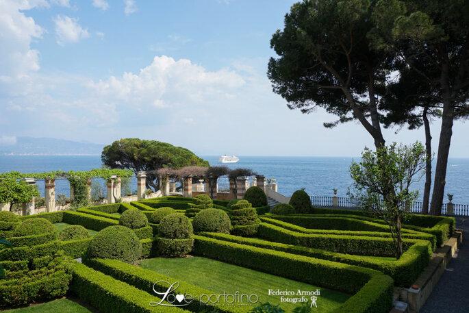 La vista dal giardino de La Cervara