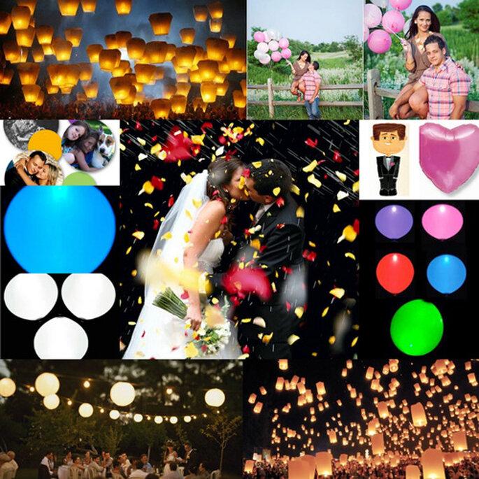 Lâcher de ballons, lanternes volantes, pétales de roses vont immortaliser votre mariage. - Photos : Adrián Bonet, Bianca Valentín, Byfotos, Fran Russo et Airedefiesta.com