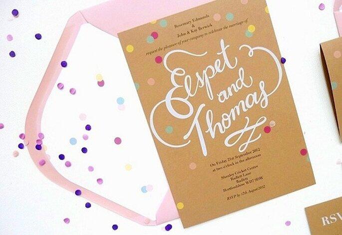 Confetti Wedding Invitations by BerinMade.