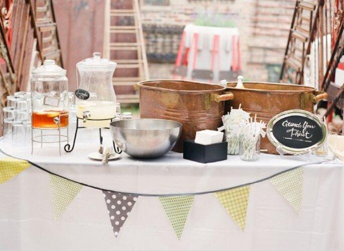 Decoración de estilo Industrial para mesa de boda. Fotografía Jeny Lynne
