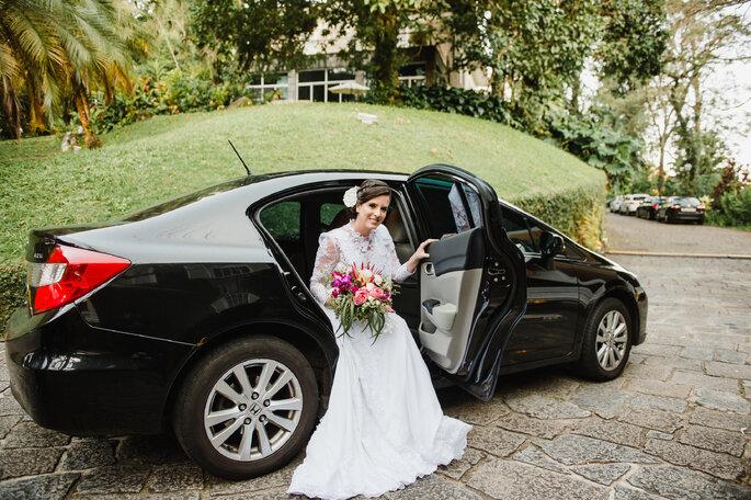Chegada da noiva no carro