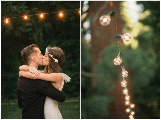 Decoración con bombillos para bodas. Foto: Delbarr Moradi