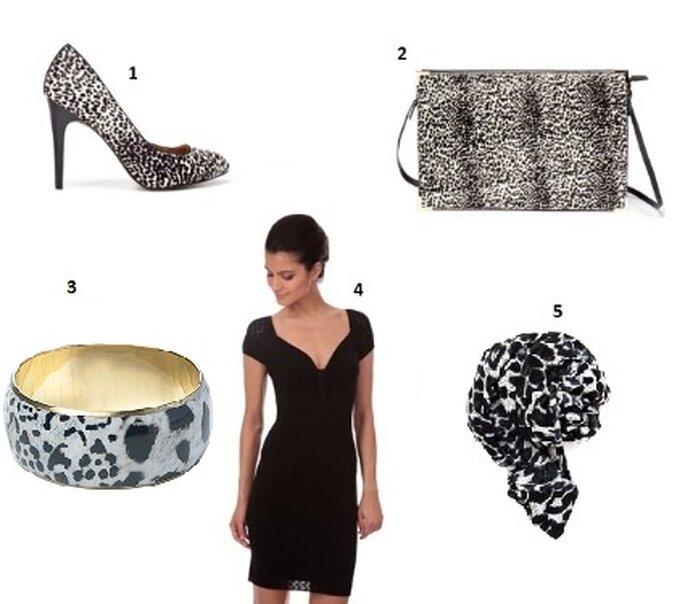 Une tenue de mariage noire et blanche - 1 : Escarpin Poulain de ZARA 2 : Pochette imprimé Poulain de ZARA 3 : Bracelet léopard de NEWLOOK 4 : Robe noire en maille ajourée de MORGAN 5 : Foulard Léopard de MANGO