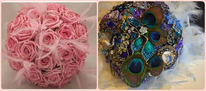 Bouquet gioiello con rose, piume e broches di cristalli