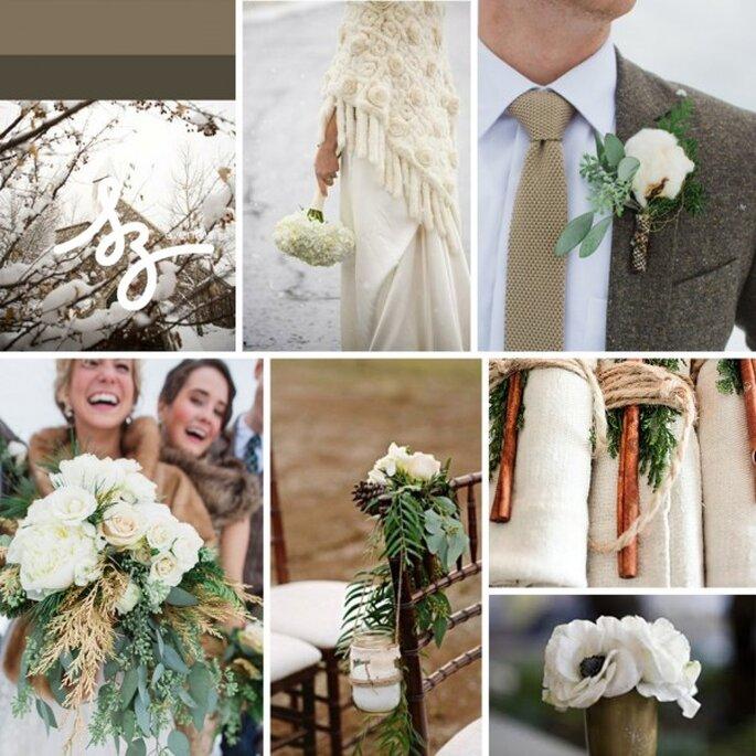 Boda rústica y glam en el invierno - Fotos: Stylemepretty.com, jldesigns.blogspot.com, ruffledblog.com, societybride.com - Diseño de Raisa Torres para SZ Eventos