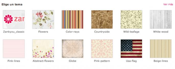 Elige el tema y los colores que adornarán tu web de bodas Zankyou
