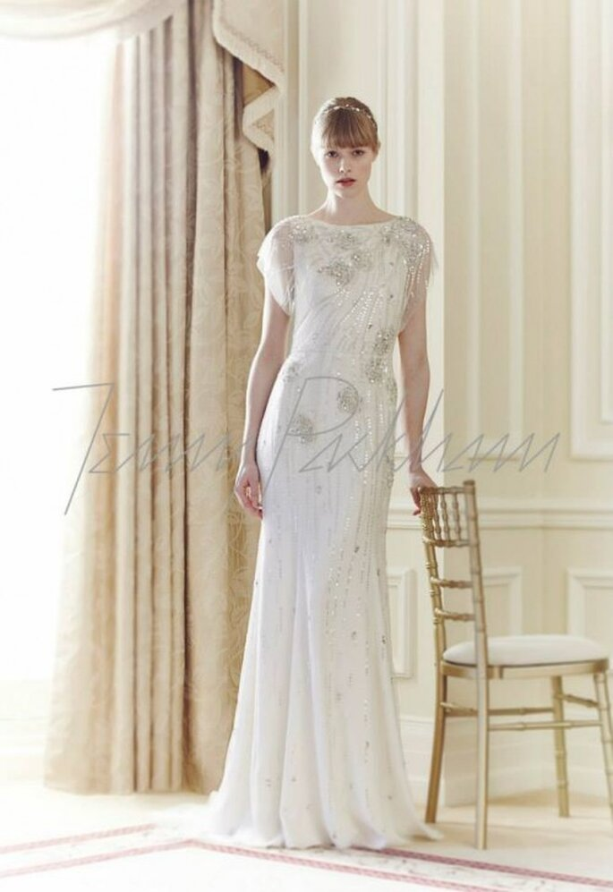 Vestido de novia 2014 en color blanco con mangas cortas y cuello ojal - Foto Jenny Packham