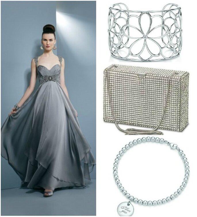 Vestido estilo imperio de Demetrios .Tiffany & Co. Pulseras Swarovski embrague.