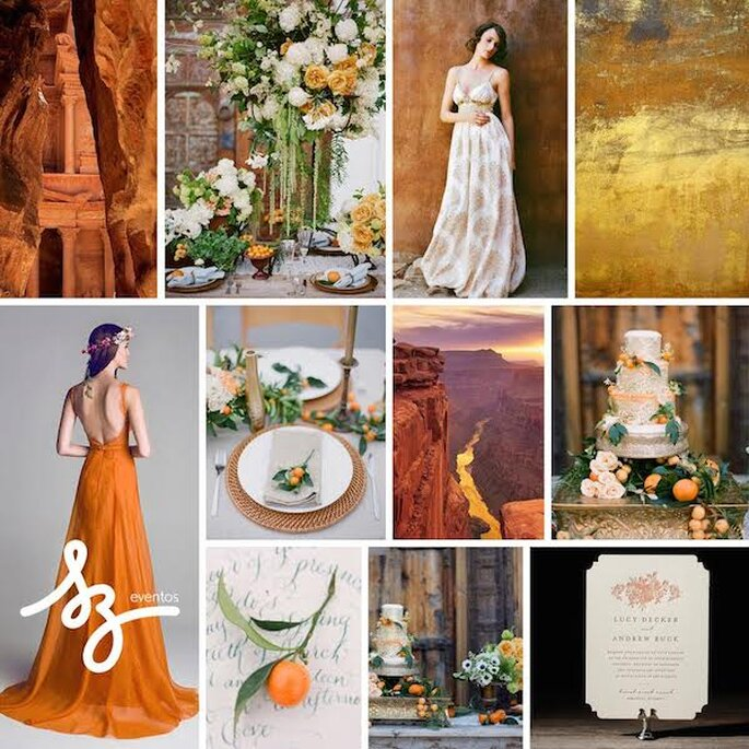 Decoración de boda con tonos naranjas, beige y terracota - Fotos de This Modern Romance, Adrian Michael Photography
