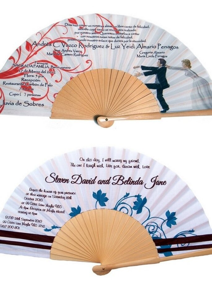 Invitaciones de boda en abanicos impresos. Fotos: Abanicos de Mano
