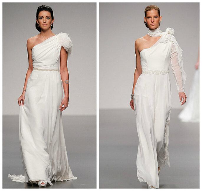 asymetryczna suknia ślubna