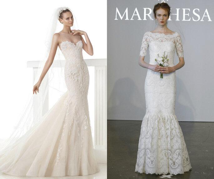 Encaje como protagonista en los vestidos de novia corte sirena - Fotos de Pronovias y Marchesa