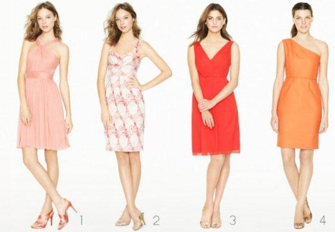 Vestidos cortos para damas de boda en color naranja - Foto: J.Crew Bridesmaid Collection