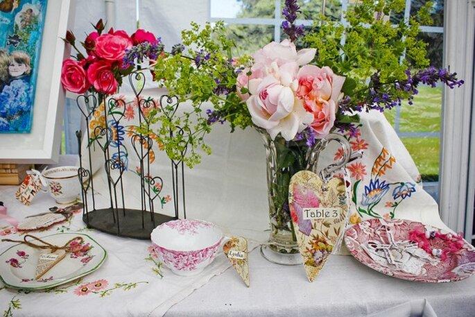 Decoración de mesas estilo vintage - Foto Keith Bloomfield