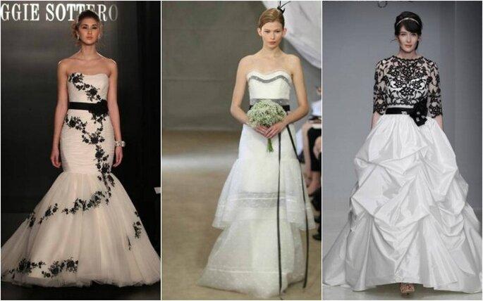 Vestidos de novia con toques negros de Maggie Sotelo, Carolina Herrera y Alfred Angelo