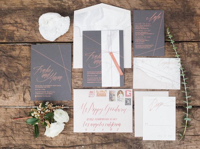 Invitaciones de matrimonio con efecto mármol