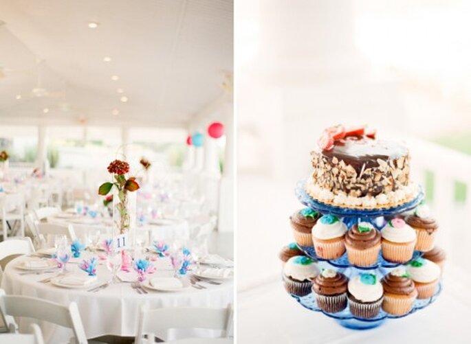 Decoración de las mesas de boda. Foto Jen Lynne