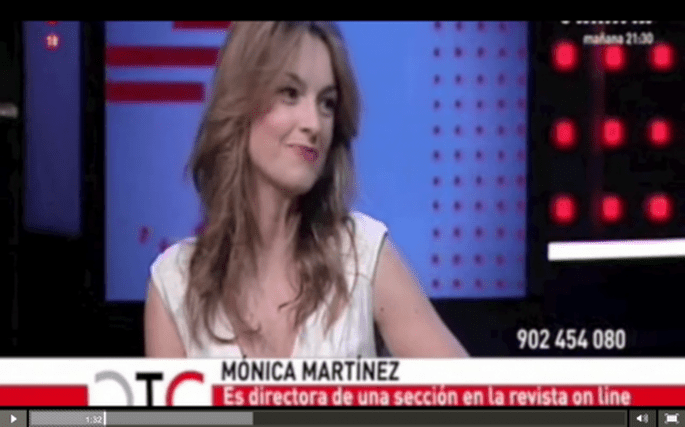 Mónica Martínez durante la entrevista en Telemadrid.
