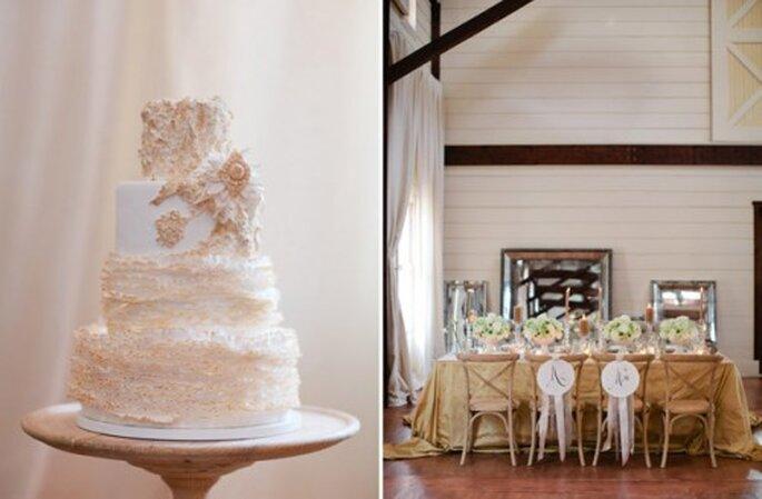 Montaje y pastel de bodas con detalles en color nude - Foto Eric Kelley Photography