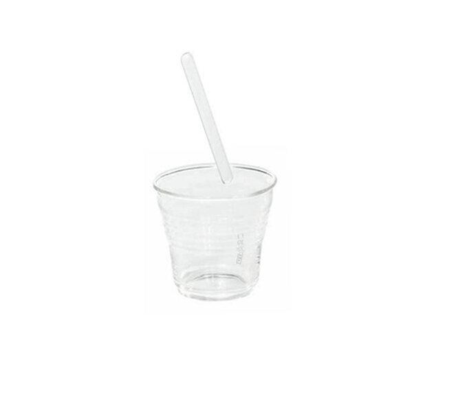 Bicchierino da caffè con cucchiaio a bacchetta in vetro borosilicato by SELAB. Foto: Seletti